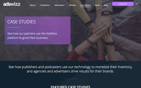 Screenshot of Case Studies Page adswizz.com - View a Small Sampling of Our Customer and Partner Base - Adswizz - captured July 13, 2018
