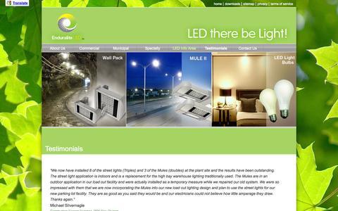 Screenshot of Testimonials Page enduraliteled.ca - Testimonials | Enduralite :: High Efficiency Lighting - captured Sept. 30, 2014