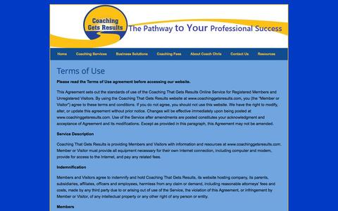 Screenshot of Terms Page coachinggetsresults.com - Terms of Use » Coaching Gets Results - captured Oct. 2, 2014