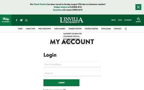 Screenshot of Login Page linvilla.com - My Account – Linvilla Orchards - captured Aug. 12, 2017