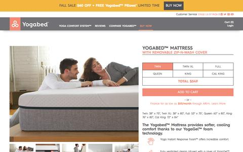 Screenshot of Pricing Page yogabed.com - Buy a Mattress Online Risk-Free | Yogabed™ - Yogabed - captured Oct. 30, 2015