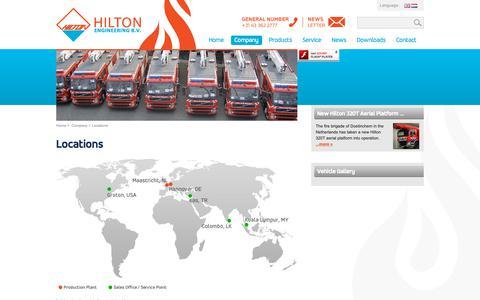 Screenshot of Locations Page hiltonengineering.nl - Firefighting Vehicles - Hilton Engineering > Company > Locations - captured Nov. 11, 2018