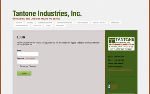 Screenshot of Login Page tantone.org - Tantone - Login - captured Oct. 7, 2014