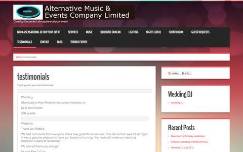 Screenshot of Testimonials Page alternativemec.com - Testimonials of DJ Robbie Duncan professional mobile DJ service - captured Oct. 4, 2014