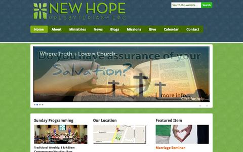 Screenshot of Home Page newhopefortmyers.org - New Hope Presbyterian Church | Fort Myers,  Florida - captured Oct. 7, 2014