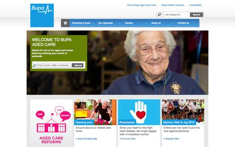 Screenshot of Home Page bupaagedcare.com.au - Residential Aged Care Homes - Bupa Aged Care - captured Sept. 25, 2014