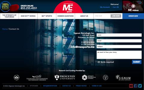 Screenshot of Contact Page cognionmd.com - ME™sports Brain Health Supplement | EHT™ | Signum Bioscience - captured Oct. 4, 2014