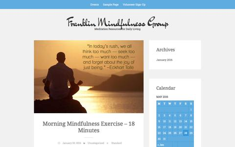 Screenshot of Home Page hintonstudio.com - Franklin Mindfulness Group - Meditation Resources for Daily Living - captured May 28, 2016