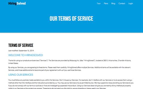Screenshot of Terms Page hiringsolved.com - Terms of Service | HiringSolved - captured Nov. 17, 2015