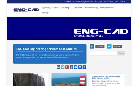 Screenshot of Case Studies Page eng-cad.com - ENG-CAD Limited Case Studies - captured Jan. 23, 2016