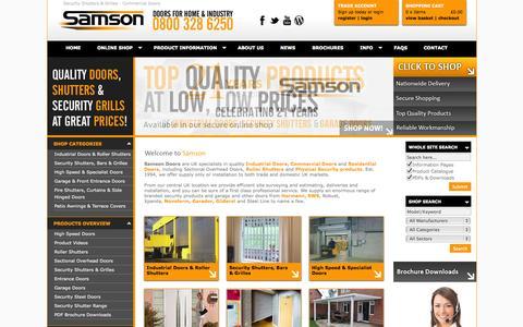 Screenshot of Home Page samsondoors.co.uk - Security Shutters & Security Grilles, Industrial Sectional Roller Doors, Commercial, Timber Doors, Sliding and Folder Doors - captured Oct. 4, 2014