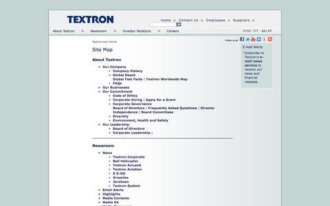 Screenshot of Site Map Page textron.com - Textron.com Site Map - captured Oct. 31, 2014