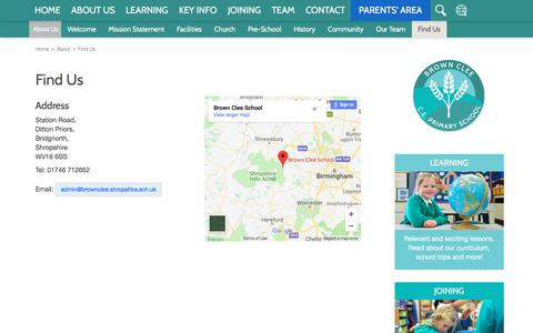 Screenshot of Contact Page Maps & Directions Page browncleeschool.org.uk - Find Us | Brown Clee CE Primary School - captured Feb. 24, 2018