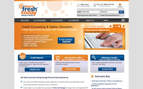Screenshot of Home Page startfreshtoday.com - Credit Counseling & Debtor Education Courses | Start Fresh Today - captured Sept. 24, 2014