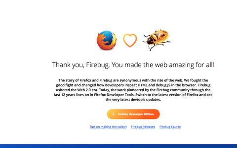 Screenshot of Home Page getfirebug.com - Firebug - captured Oct. 24, 2017