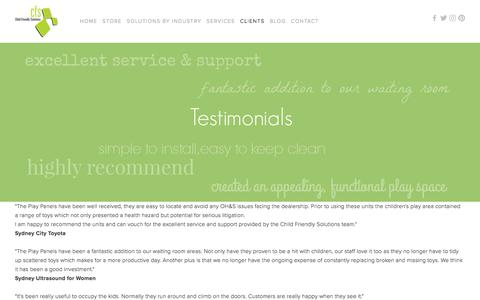 Screenshot of Testimonials Page childfriendly.com.au - Testimonials — Child Friendly Solutions - captured July 28, 2017