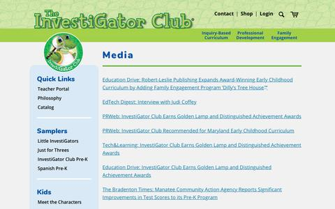 Screenshot of Press Page investigatorclub.com - Media - The InvestiGator Club - captured Sept. 19, 2018