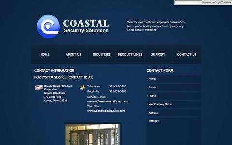 Screenshot of Support Page coastalsecuritycorp.com - Customer Service  |  Coastal Security Solutions Corporation - captured Oct. 26, 2014