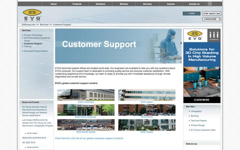 Screenshot of Support Page evgroup.com - EVG|Customer Support - captured Oct. 18, 2016