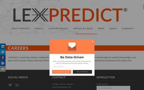 Screenshot of Jobs Page lexpredict.com - Careers - LexPredict® - captured Feb. 22, 2018