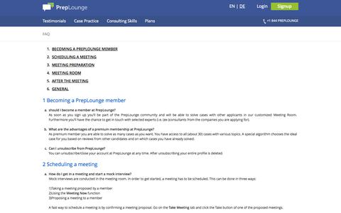 Screenshot of FAQ Page preplounge.com - Practice Case Interviews to get your consulting dream job - captured Sept. 23, 2014
