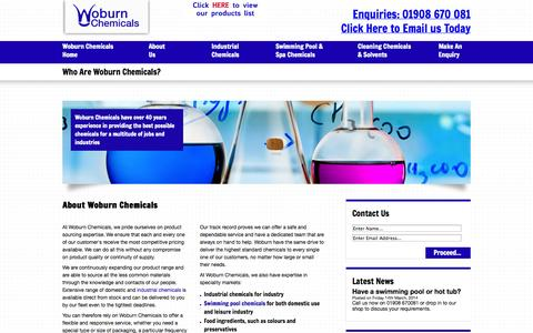 Screenshot of About Page woburnchemicals.co.uk - Who We Are - Woburn Chemicals - captured Oct. 9, 2014