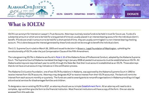 Screenshot of About Page acjf.org - What is IOLTA? | ACJF - captured Feb. 2, 2018
