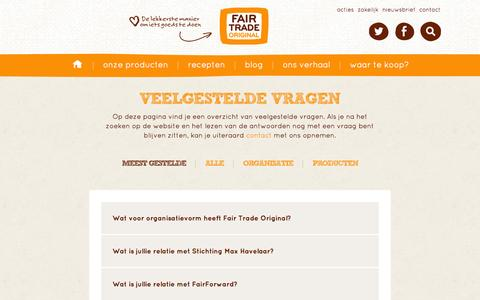 Screenshot of FAQ Page fairtrade.nl - Faq | Fair Trade Original - captured Oct. 5, 2014