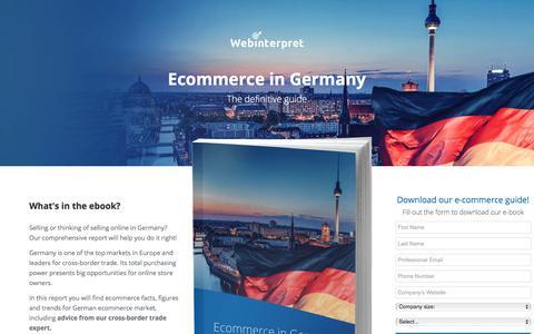 Screenshot of Landing Page webinterpret.com - Ecommerce in Germany: the definitive guide - captured May 12, 2018