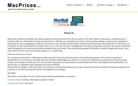 Screenshot of About Page macprices.net - MacPrices.net: About us - captured Sept. 23, 2018