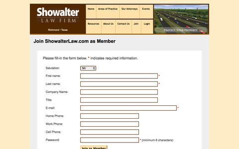 Screenshot of Signup Page showalterlaw.com - Join as Member at ShowalterLaw.com and learn about Texas Eminent Domain. : - captured Oct. 9, 2014