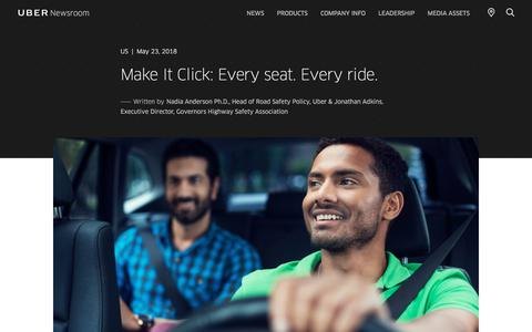 Screenshot of Press Page uber.com - Make It Click: Every seat. Every ride. | Uber Newsroom US - captured May 26, 2018
