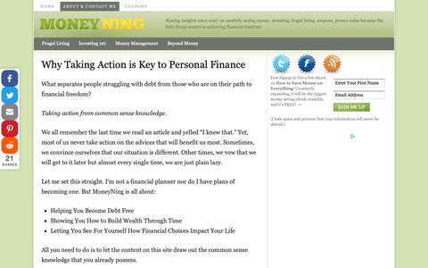 Screenshot of About Page moneyning.com - Why Taking Action is Key to Personal Finance - captured Nov. 4, 2018