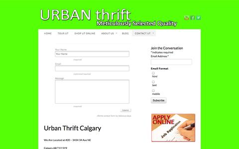 Screenshot of Contact Page urbanthrift.ca - Urban Thrift Calgary Thrift Stores - captured Oct. 9, 2014