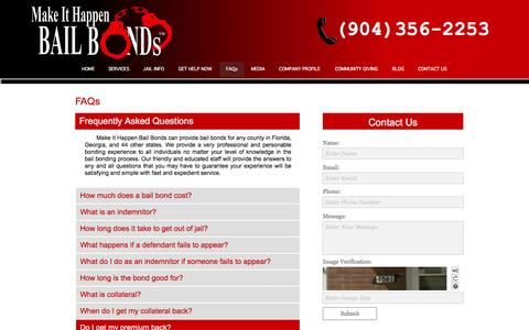 Screenshot of FAQ Page makeithappenbail.com - FAQs | Jacksonville, FL Bail Bonds - captured Feb. 3, 2016