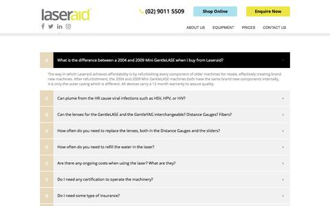 Screenshot of FAQ Page laseraid.com.au - Frequently Asked Questions   Laseraid - captured July 16, 2018
