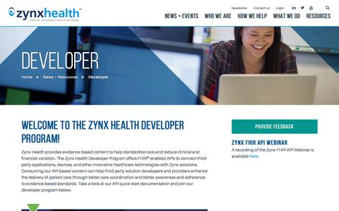 Screenshot of Developers Page zynxhealth.com - Developer - Zynx Health - captured Nov. 15, 2017