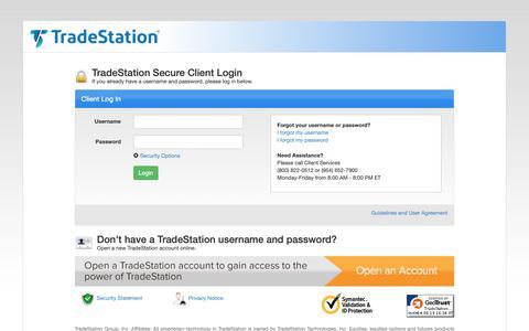 Screenshot of Login Page tradestation.com - TradeStation Secure Client Login - captured June 14, 2019