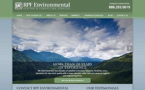 Screenshot of Home Page airpf.com - Environmental Testing & Consulting Services | RPF Environmental - captured Aug. 12, 2015