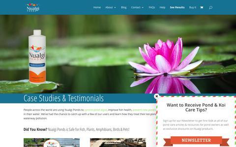 Screenshot of Case Studies Page nualgiponds.com - Case Studies & Testimonials - Nualgi Ponds - captured Aug. 27, 2016