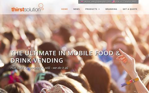 Screenshot of Home Page thirstsolution.com - Thirst Solution - Mobile vending food and drink backpacks - captured Sept. 2, 2015