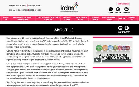 Screenshot of About Page kdmevents.co.uk - About Us   Meet the Award Winning Team Building Experts at KDM - captured Sept. 20, 2018