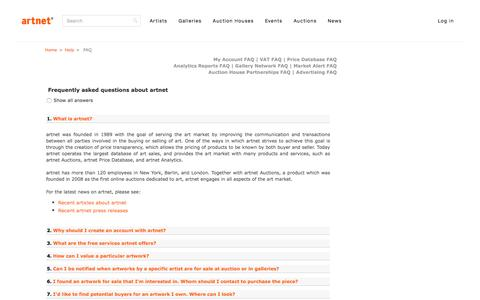 Screenshot of FAQ Page artnet.com - artnet FAQ - captured July 26, 2016