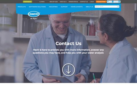Screenshot of Contact Page hach.com - Contact Us for Questions, Support, and Pricing | Hach - captured June 25, 2019
