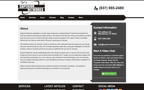 Screenshot of About Page superiornetworks.biz - About | Superior Networks - captured Oct. 7, 2014