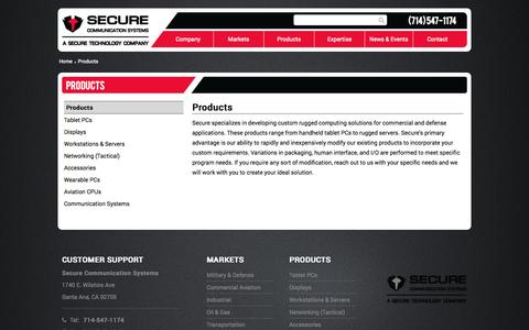 Screenshot of Products Page securecomm.com - Products - Secure Communication Systems - captured Nov. 2, 2014