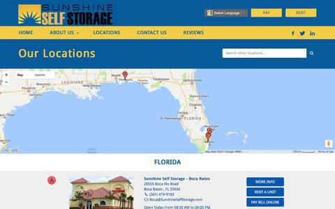 Screenshot of Locations Page sunshineselfstorage.com - Locations Archive - Sunshine Self Storage - captured June 17, 2017
