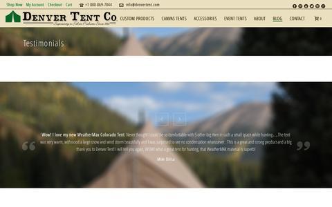 Screenshot of Testimonials Page denvertent.com - Testimonials | Denver Tent Company - Event, Sportsmen, & Custom Tents - captured Nov. 24, 2016