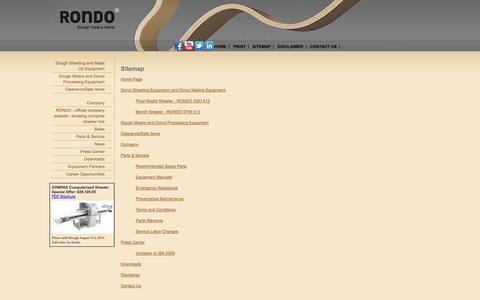 Screenshot of Site Map Page rondo-inc.com - Dough & Bakery Equipment Manufacturer - RONDO - captured Sept. 30, 2014