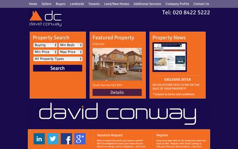 Screenshot of Home Page davidconway.co.uk - Estate Agents Harrow and Letting Agents Harrow | David Conway - captured Oct. 5, 2014